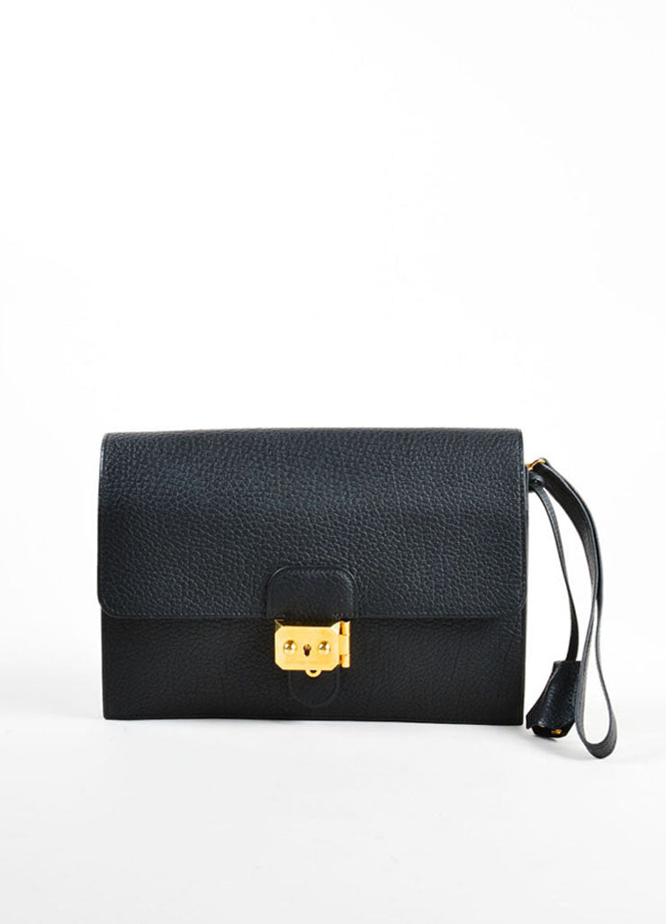 "Hermes Black and Gold Toned ""Clemence"" Leather ""Jet"" Clutch Bag Frontview"