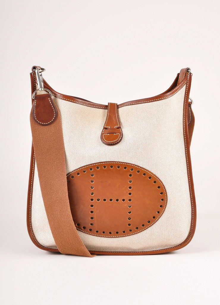 "Hermes Brown and Cream Leather and Canvas ""Evelyne PM"" Crossbody Shoulder Bag Frontview"