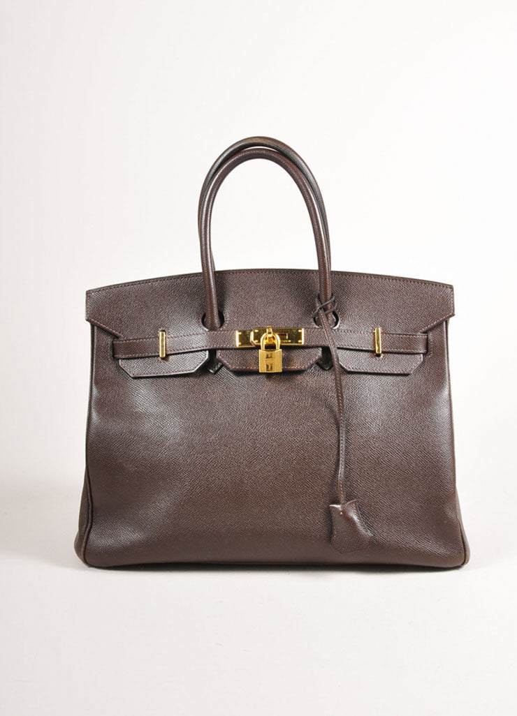 "Chocolate Brown and Gold Toned Hermes Epsom Leather 35 cm ""Birkin"" Bag Frontview"