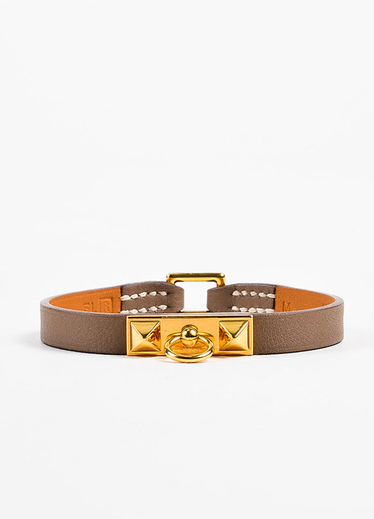 "Hermes Taupe and Gold Toned Leather ""Micro Rivale"" Bracelet  Frontview"