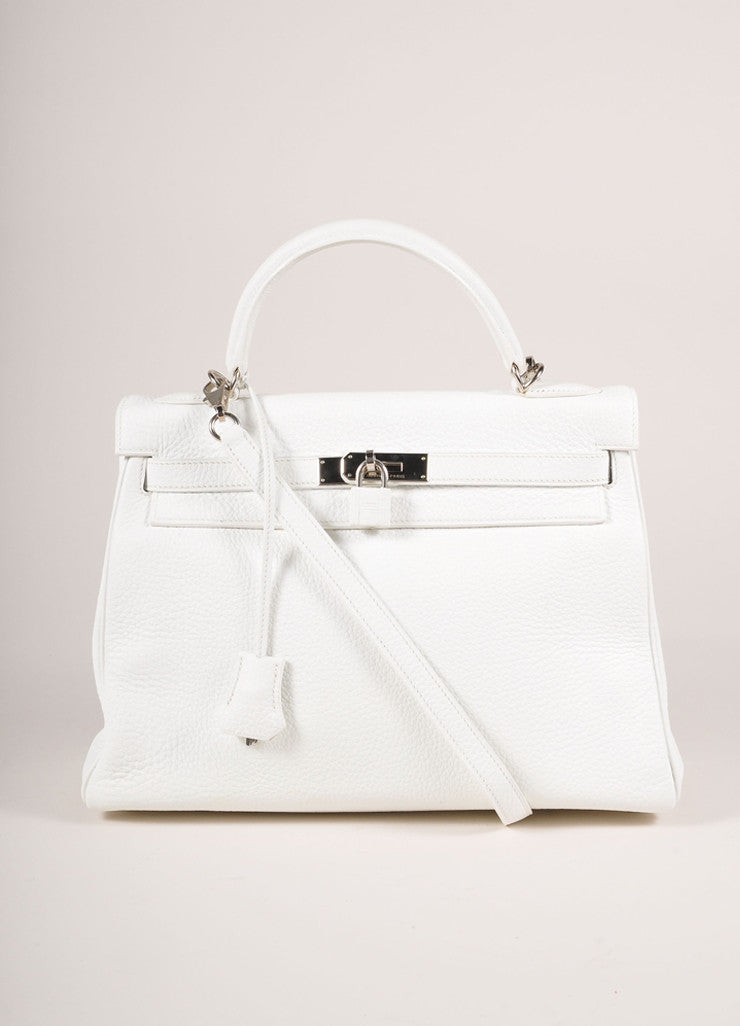 "Hermes New Without Tags White and Silver Toned Togo Leather 32cm Two Way ""Kelly"" Bag Frontview"