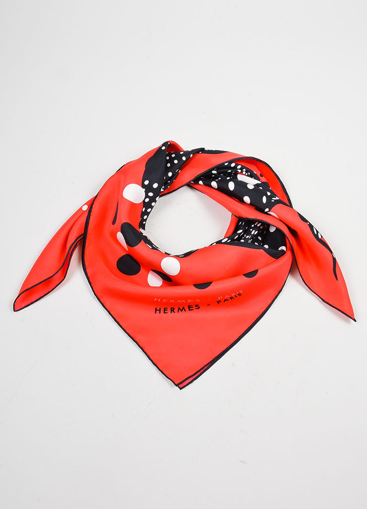 "Red and Black Hermes Silk Printed ""Hola Flamenca"" Scarf Frontview"