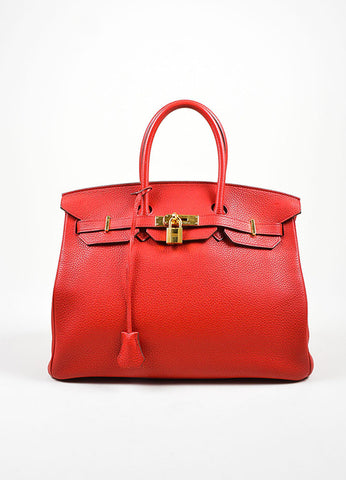 "Red and Gold Toned Hermes Clemence Leather ""Birkin"" 35 cm Handbag Frontview"