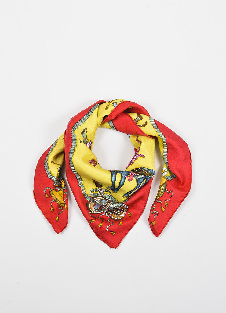 Red, Yellow, and Multicolor Hermes Silk Printed 'Les Fetes du Roi Soleil' Scarf Frontview