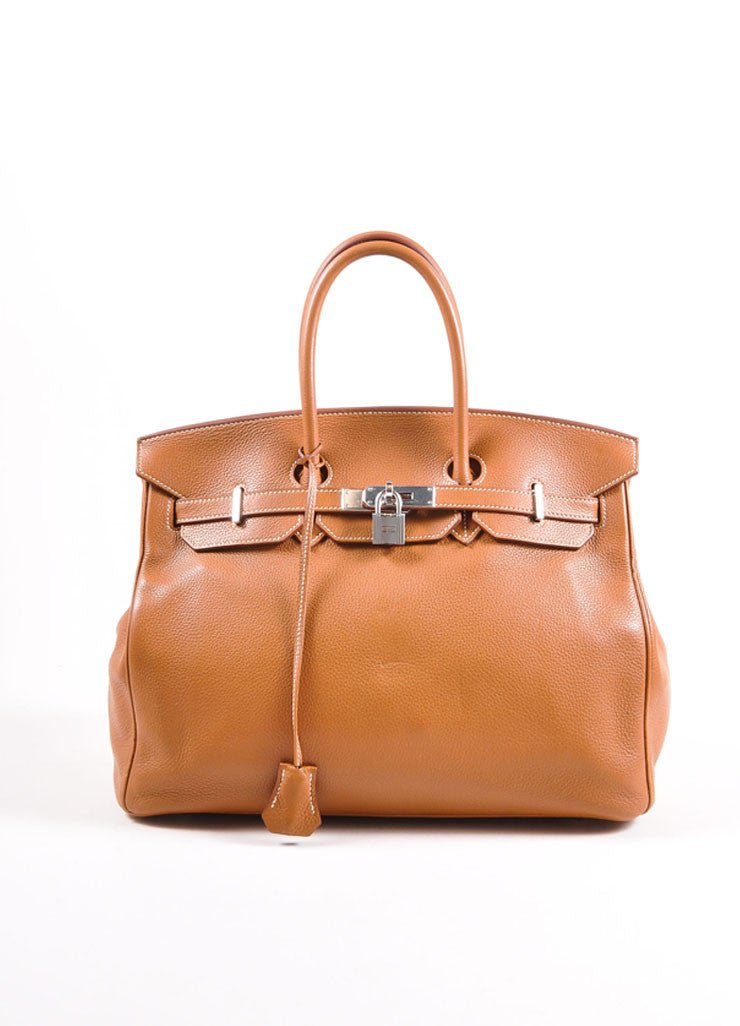 "Hermes Tan Brown Silver Tone Togo Leather 35 cm ""Birkin"" Bag Frontview"