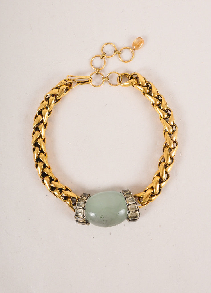 Iradj Moini Gold Toned and Green Chunky Cabochon Stone and Chain Choker Necklace Frontview