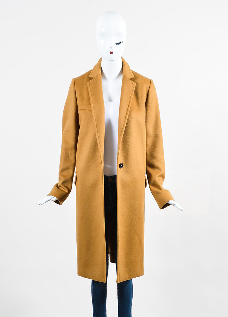 "Camel Tan Isabel Marant Wool and Cashmere ""Carlen Caban"" Coat Frontview"