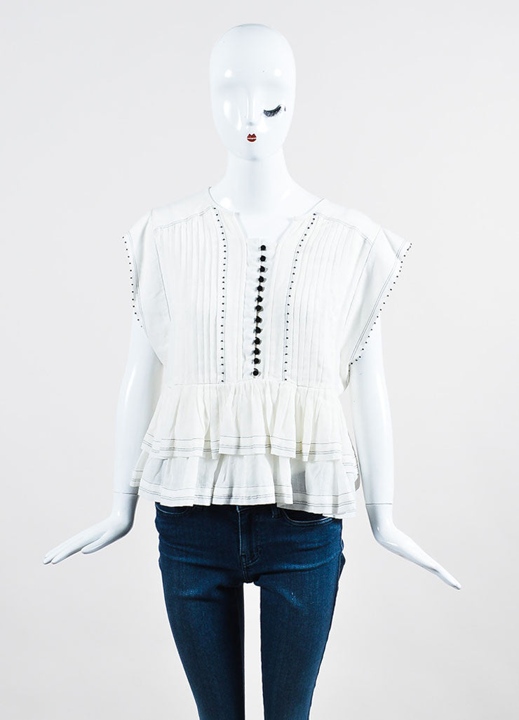 "White and Black Beaded Pleat äó¢íšíóIsabel Marant ""Raquel"" Short Sleeve Top Frontview"