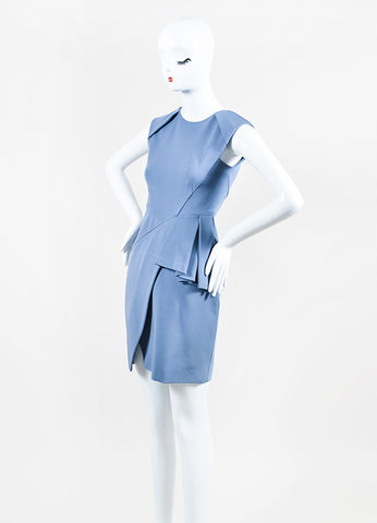J Mendel Blue Stretch Knit Sleeveless Structured Front Peplum Sheath Dress Sideview