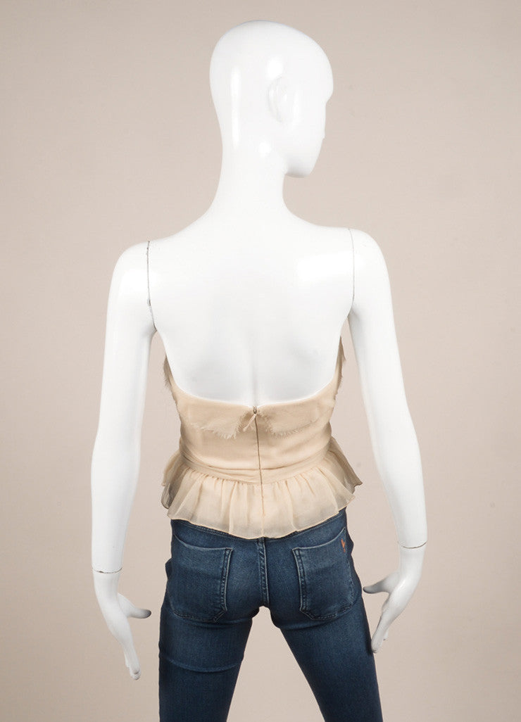 J. Mendel Taupe Chiffon Bustier Top Backview