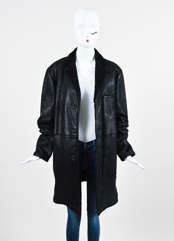 ‰ۢÌöÌÛJil Sander Black Coated Leather Shearling Lined Coat Frontview