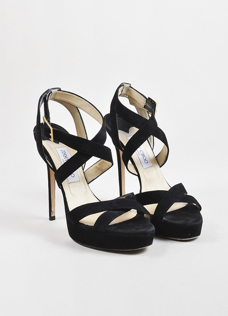 "Jimmy Choo Black Suede Strappy Platform ""Vamp"" Sandals  Frontview"