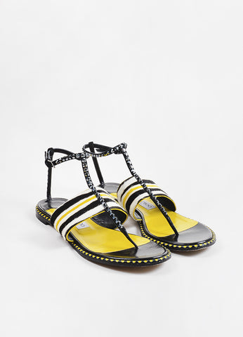 Black and Yellow Jimmy Choo Pony Hair Striped Studded Flat Sandals Front