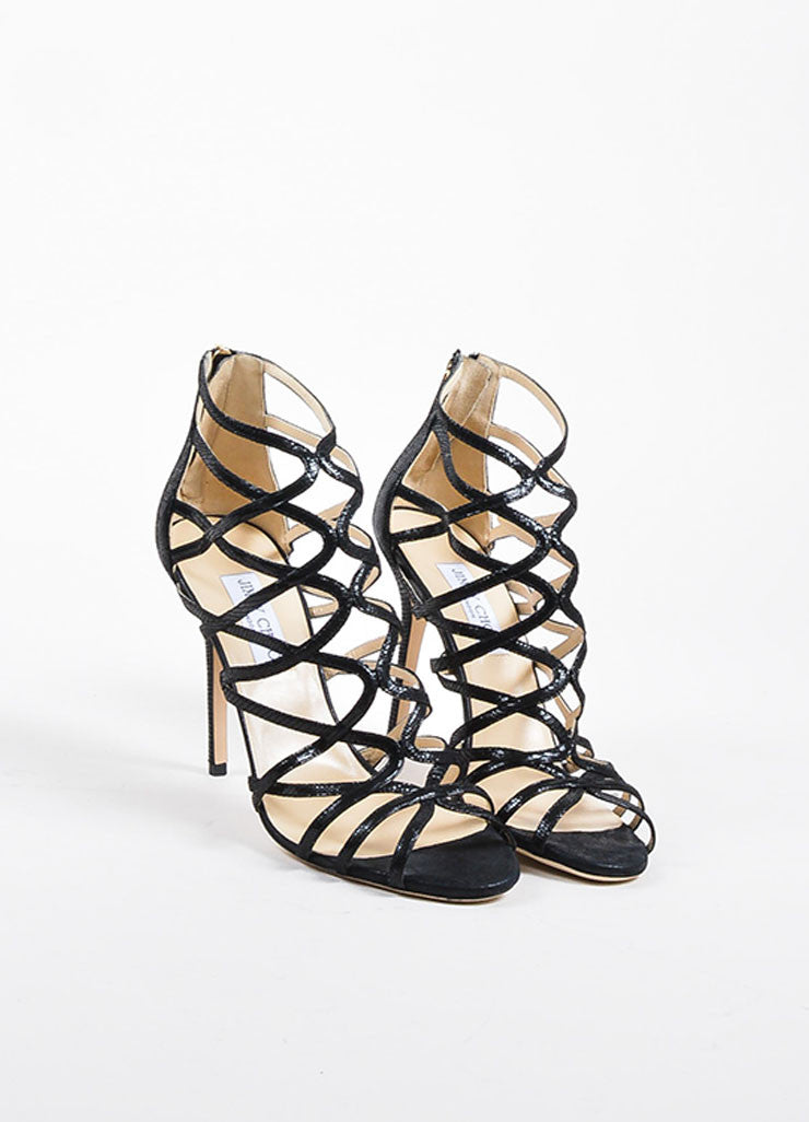 "Jimmy Choo Black Embossed Leather ""Fiesta"" Caged Heeled Sandals Frontview"