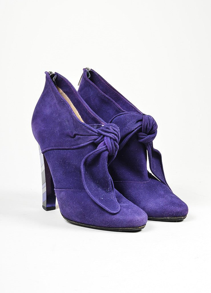 Purple Jimmy Choo Suede Knot Bow Mosaic Mirrored Heel Ankle Booties Frontview