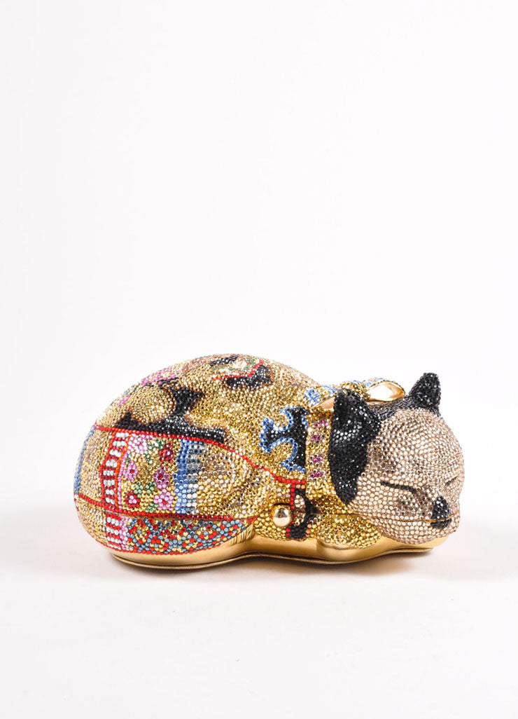 Judith Leiber Multicolor Crystal Rhinestone Sleeping Cat Minaudiere Clutch Bag Frontview