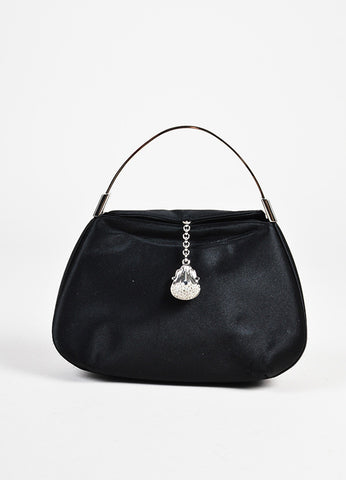 Judith Leiber NWT Black Satin Embellished Small Evening Handbag front