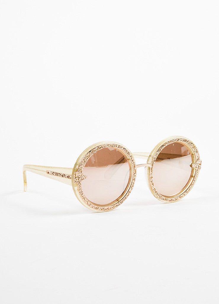 "Karen Walker Gold Glitter Mirrored Lens Round ""Orbit Filigree"" Sunglasses Sideview"