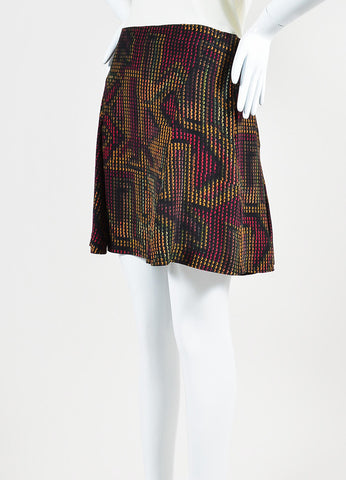 Black and Multicolor Kenzo Silk Rune Print Flare Skirt Sideview