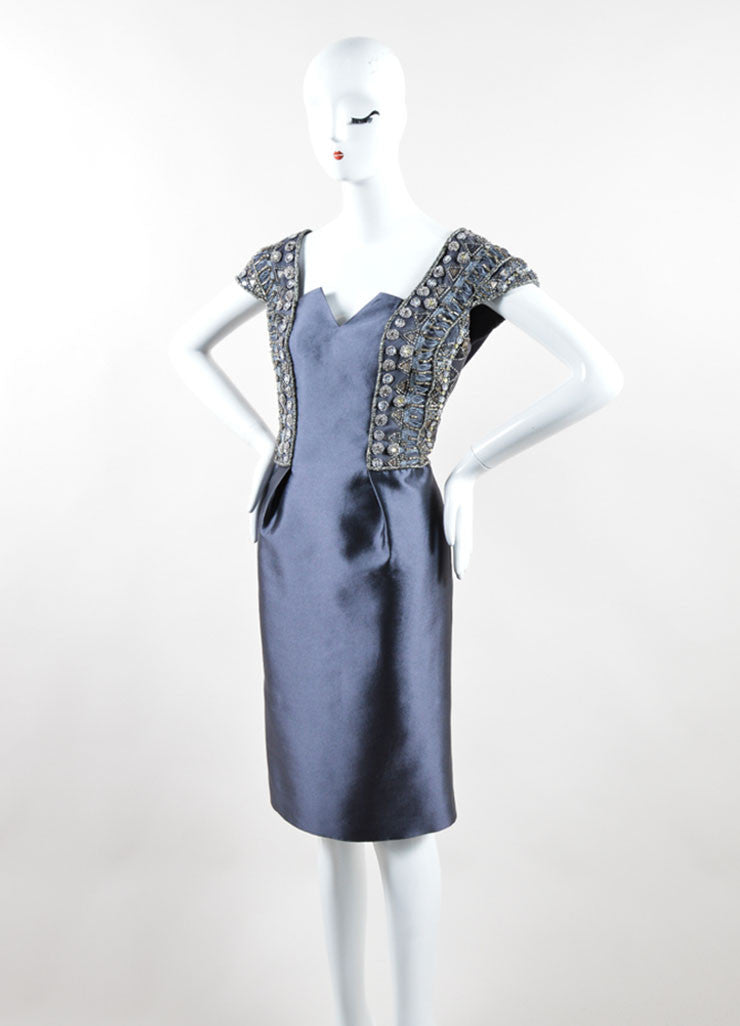 Kevan Hall Grey Satin Taffeta Beaded Embellished Sleeveless Cocktail Dress Sideview