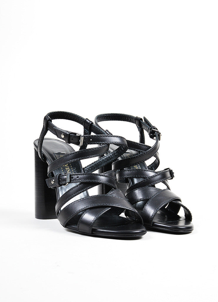 Lanvin Black Leather Strappy Buckle Stacked Heel Sandals Frontview