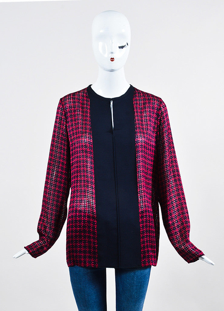 Red and Navy Lanvin Silk Grosgrain Ribbon Houndstooth Long Sleeve Sheer Top Frontview