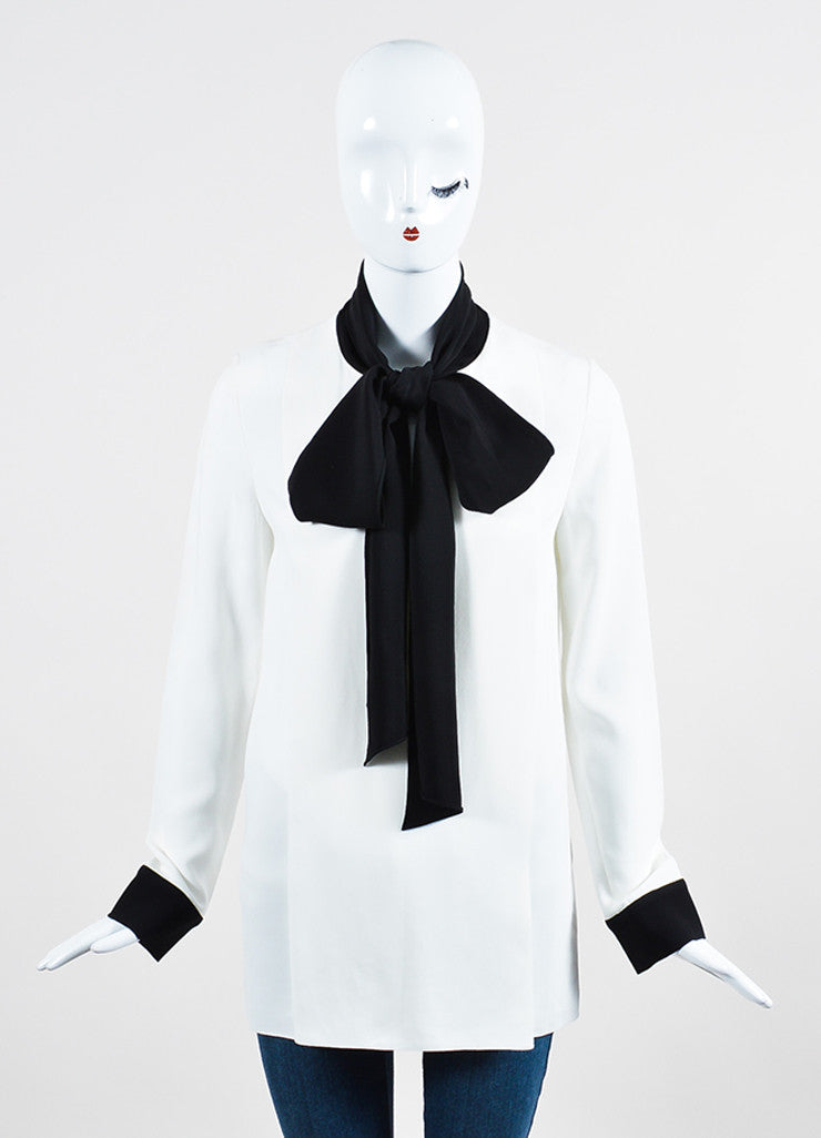 White and Black Trim Lanvin Oversized Neck Tie Long Sleeve Blouse Frontview