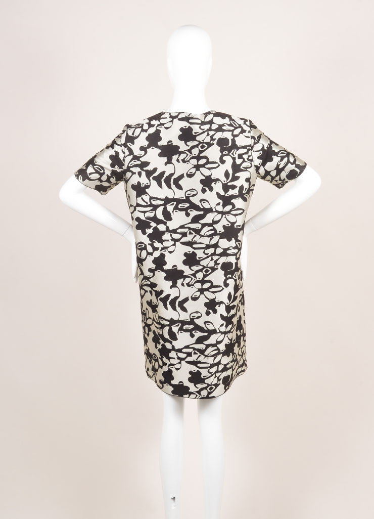 Lanvin New With Tags Grey and Black Woven Knit Floral Oversized Short Sleeve Dress Backview