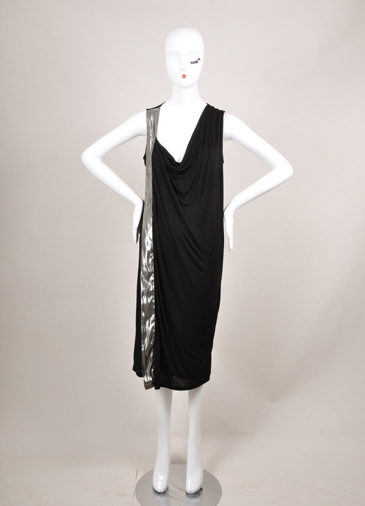 Lanvin New With Tags Black and Silver Metallic Trim Sleeveless Knit Jersey Dress Frontview