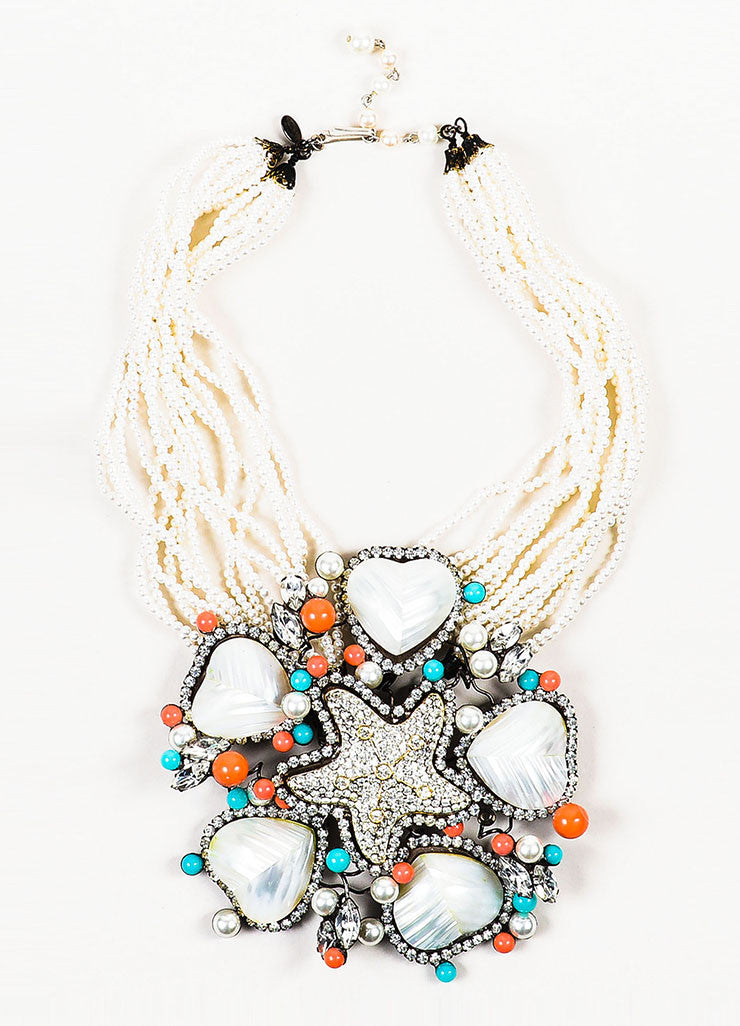 Lawrence Vrba Cream, Coral, and Teal Faux Pearl and Rhinestone Star Pendant Necklace Frontview