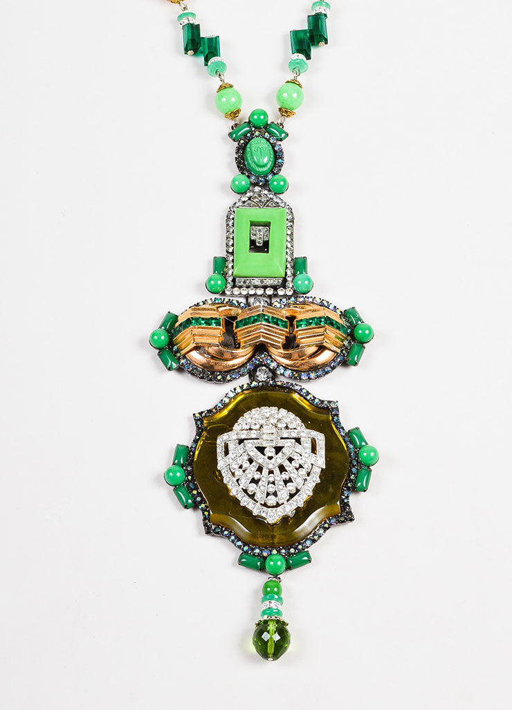 Lawrence Vrba Green and Gold Toned Stone Beaded Crystal Art Deco Pendant Necklace Detail