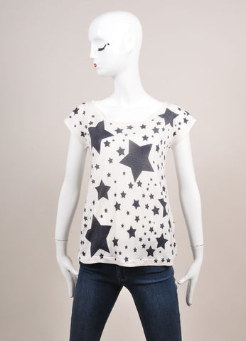 Leetha New With Tags White and Black Star Print Cashmere and Silk T-Shirt Frontview
