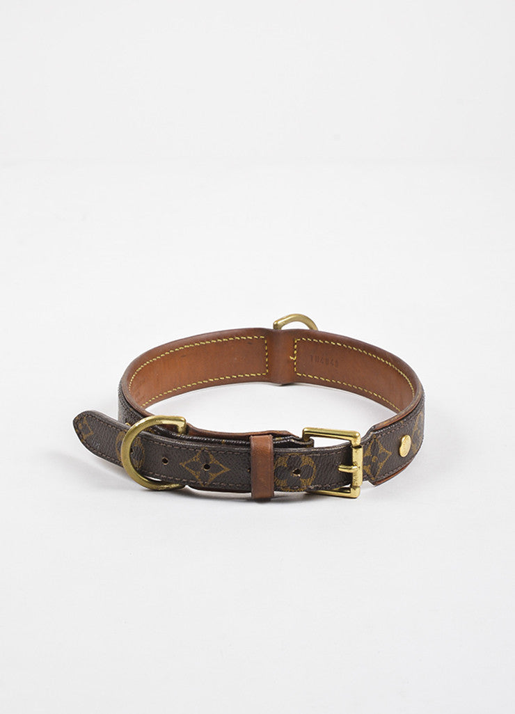"Louis Vuitton Brown Leather Trim Monogram ""Baxter Dog Collar GM"" Frontview"