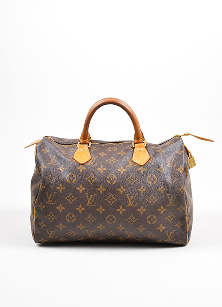 "Brown Louis Vuitton Monogram Canvas ""Speedy 30"" Handbag Frontview"