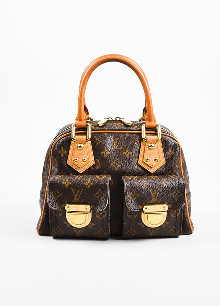"äó¢íšíóLouis Vuitton Brown and Tan Coated Canvas Monogram ""Manhattan PM"" Satchel Bag Frontview"