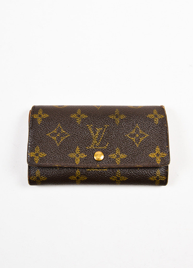 "Louis Vuitton Brown and Tan Coated Canvas Monogram ""Porte-Monnaie Tresor"" Wallet Frontview"