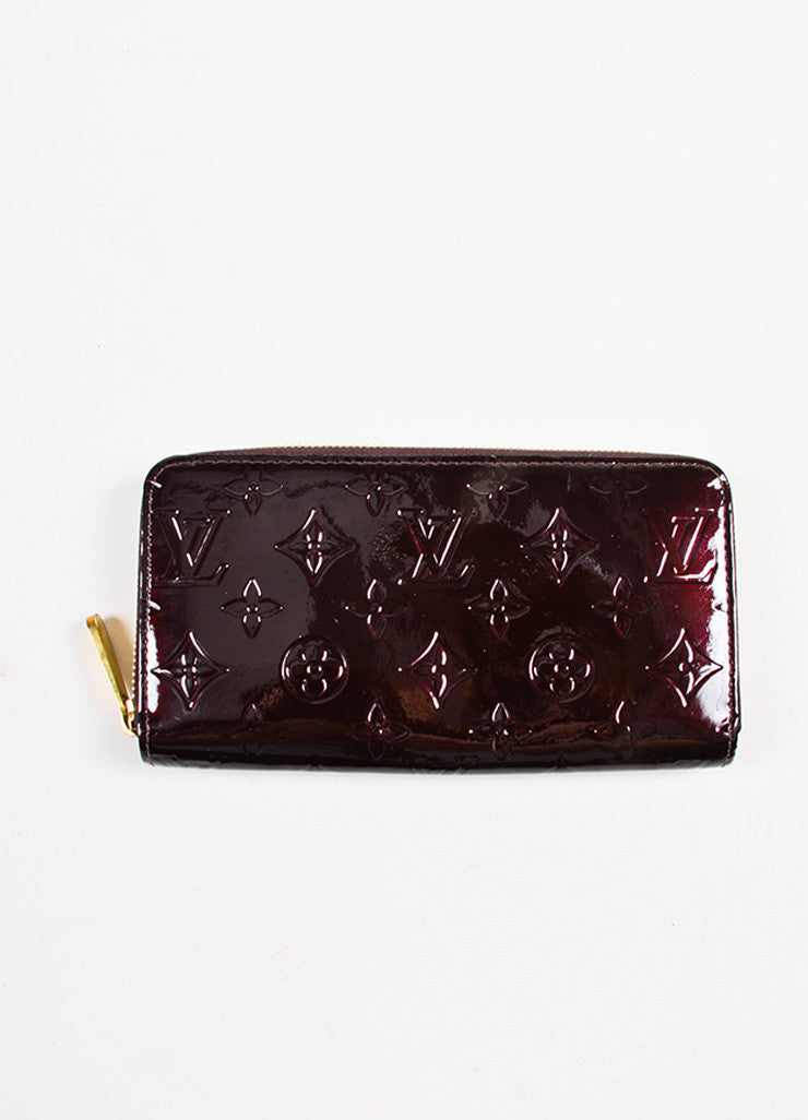 "Louis Vuitton Eggplant ""Amarante"" Patent Leather Monogram ""Vernis Zippy"" Wallet Frontview"