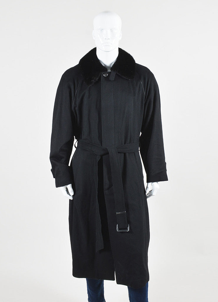 Men's Brioni Black Cashmere Removable Fur Collar Coat Frontview