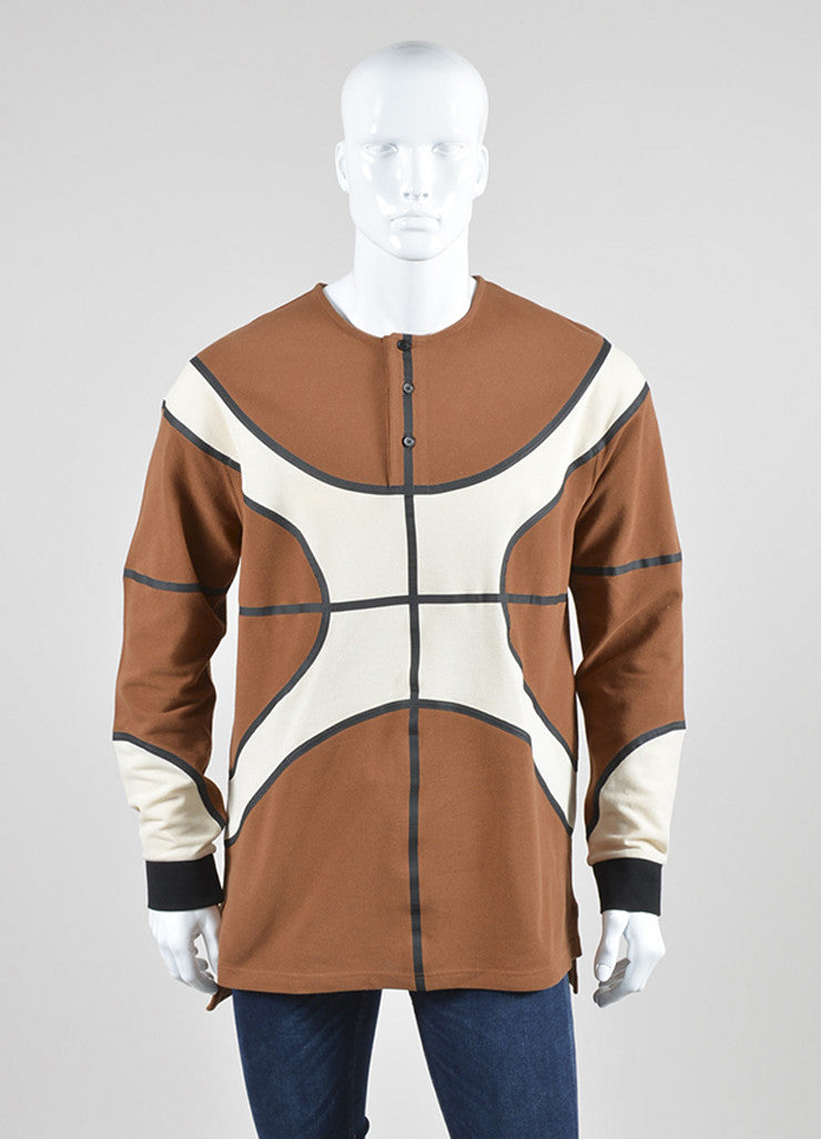 Men's Givenchy Brown and Cream Cotton Waffle Textured Basketball Long Sleeve Top Frontview