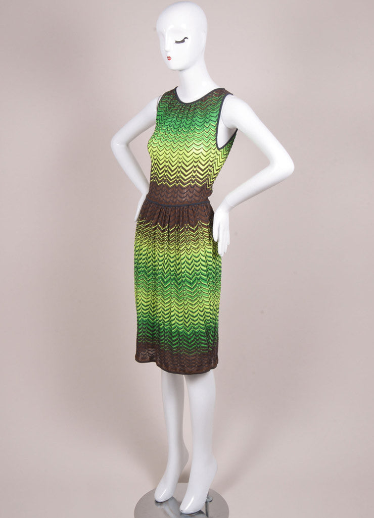 M Missoni New With Tags Green, Yellow, and Brown Knit Woven Chevron Print Mesh Dress Sideview