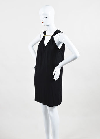 Maison Martin Margiela Black Sleeveless Gold Toned Bar Gathered Shift Dress Sideview