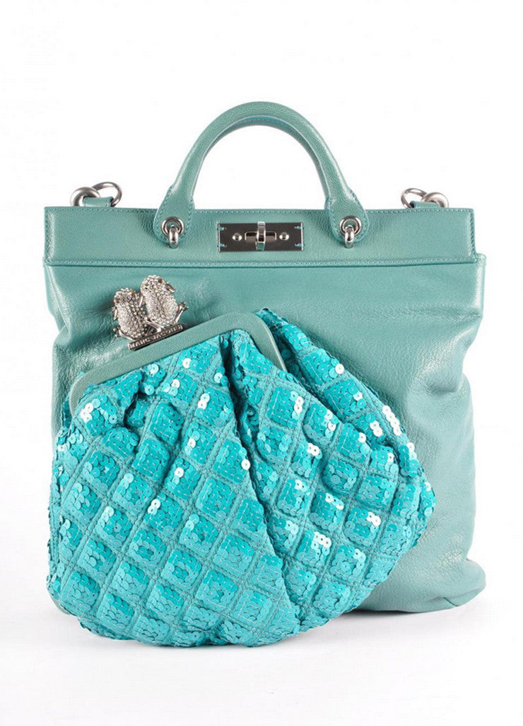 "New WIth Tags ""Duffy"" C381077 Teal Leather Bag"