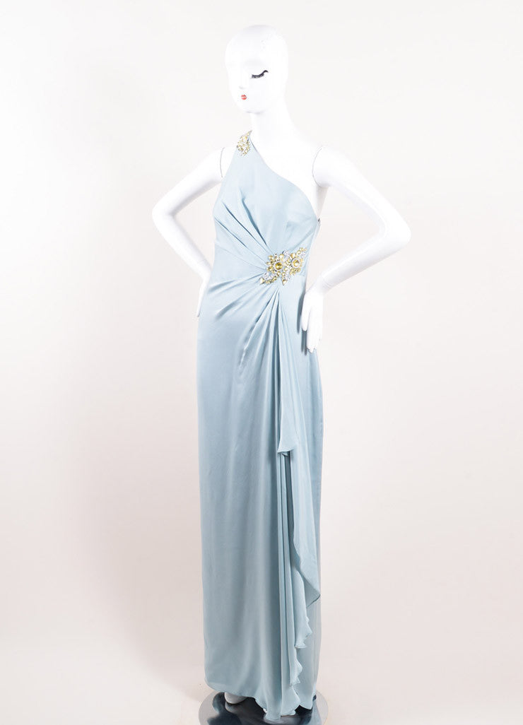 Marchesa Notte Blue Silk Embellished One Shoulder Cascade Floor Length Gown Sideview