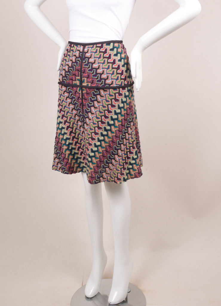 Missoni Grey, Pink, and Blue Knit Woven Print Skirt Sideview