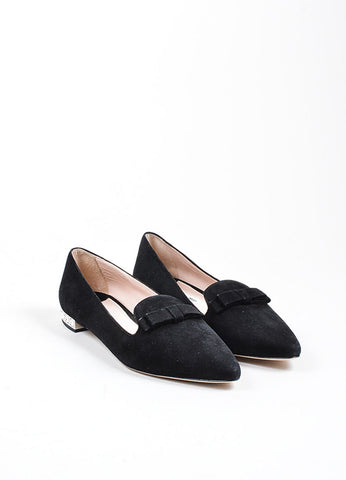 Black Miu Miu Suede Crystal Embellished Point Toe Flats Frontview