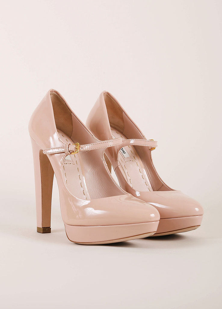 Miu Miu Nude Patent Leather Platform Mary Jane Heels Frontview