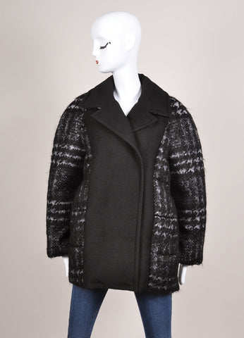 Moncler New With Tags Black and Grey Wool and Mohair Houndstooth Puffer Pea Coat Frontview