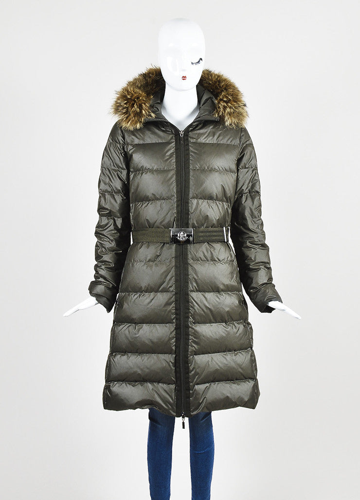 Moncler Olive Green Coyote Fur Hooded Belted Long Puffer Coat Frontview
