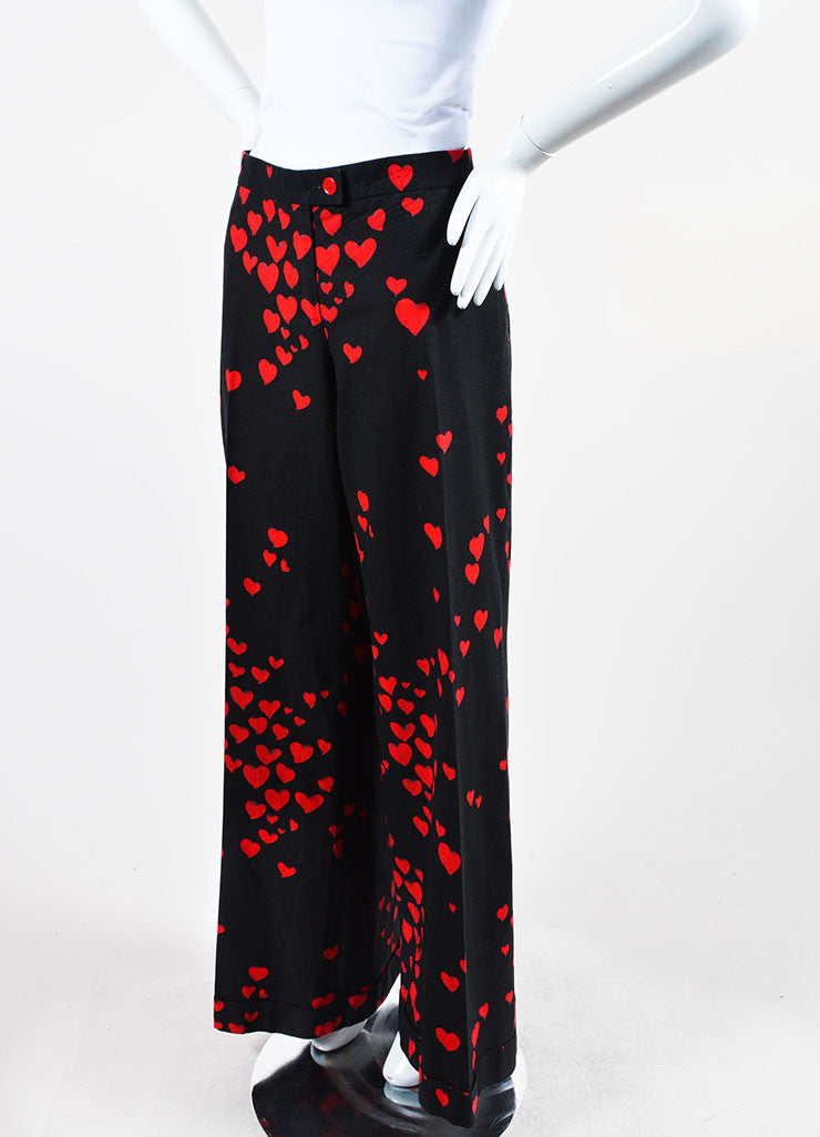 Black and Red Moschino Cheap and Chic Heart Print Cotton Wide Leg Pants Sideview