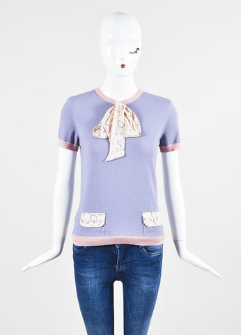 Lavender and Pink Moschino Wool and Cashmere Polka Dot Accessories Print Sweater Top Frontview